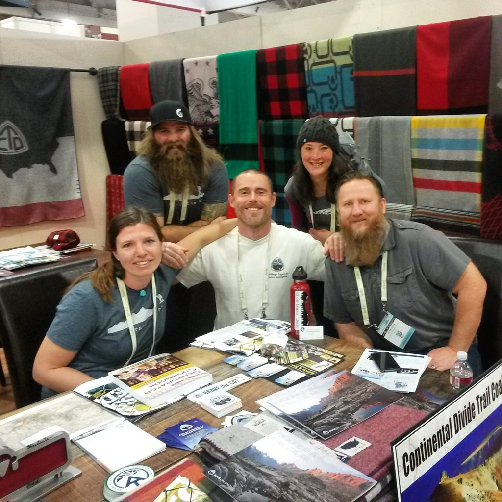 Woolrich dedicated a whole booth to long distance trails. She-ra, Swami, Czech, Jabba, and I are peddling CDT wares for a good cause.