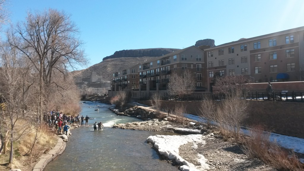 The view of the ford from the bridge over Clear Creek. The downtown passerbys were gathered on the bridge watching these two.