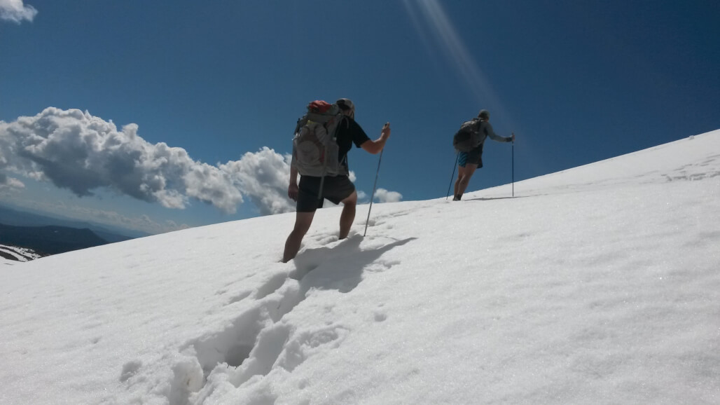 Many thru-hikers find they don't need full mountaineering gear to travel through some snowy conditions
